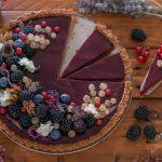 Vegan pie with blackberries